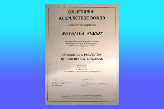 Dr  Natalia Shmidt | Certification